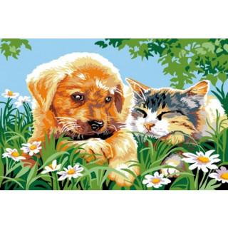 Sticktwist-Gobelin Tierfreundschaft