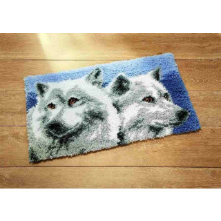 Knüpfwandbehang / Teppich Wölfe