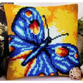 Kreuzstichkissen Blauer Schmetterling
