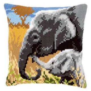 Kreuzstichkissen Elefantenliebe