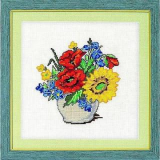 vorgezeichnetes Kreuzstich-Bild Feldblumen