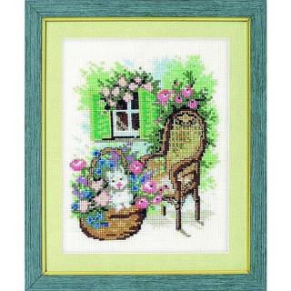 vorgezeichnetes Kreuzstich-Bild Gartenstuhl