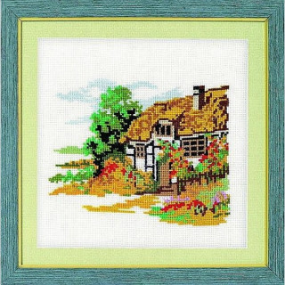 vorgezeichnetes Kreuzstich-Bild Bauernhaus