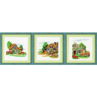 3-tlg. Bilder-Set: 3 vorgezeichnete Kreuzstich-Bilder Häuser