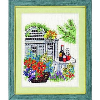 vorgezeichnetes Kreuzstich-Bild Gartenpavillon
