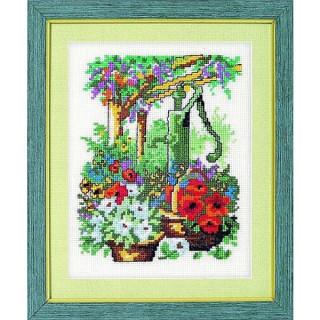 vorgezeichnetes Kreuzstich-Bild Gartenpumpe