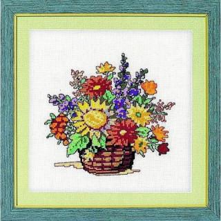 vorgezeichnetes Kreuzstich-Bild Blumenkörbchen