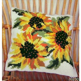 Kreuzstichkissen Sonnenblumen
