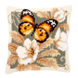 Kreuzstichkissen Orange-schwarzer Schmetterling