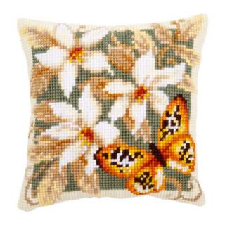 Kreuzstichkissen Orangefarbener Schmetterling