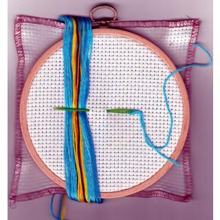 Kinder - Stickpackung Blaue Eule, 14 cm rund