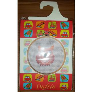 Kinder - Stickpackung Braune Eule, 14 cm rund