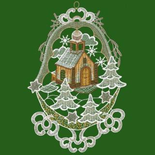 Macramee-Fensterbild Winterkirche