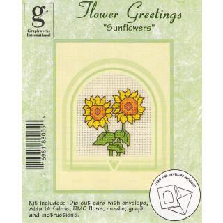 Zählkreuzstich-Grußkarte mit Umschlag Sonnenblumen