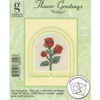 Zählkreuzstich-Grußkarte mit Umschlag Rosen