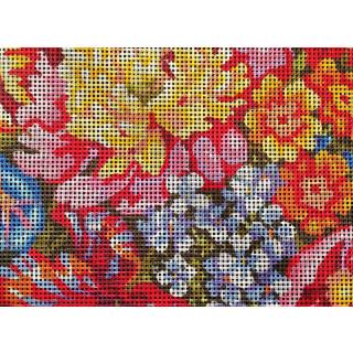 Sticktwist-Gobelin / Kissenplatte Blumenmeer