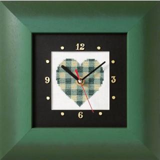 Kreuzstich-Uhr Grünes Herz
