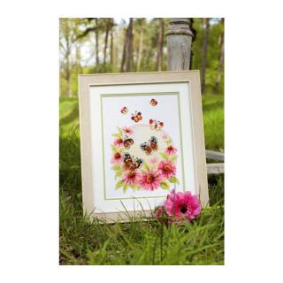 Zählmusterpackung Sonnenhut mit Schmetterlingen
