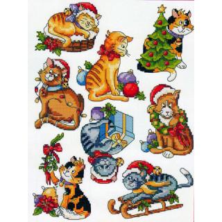 Musterbogen Weihnachts-Katzen