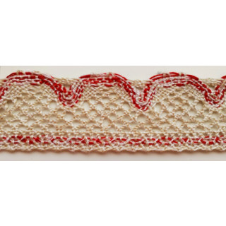 Häkelspitze, 4 cm breit, natur - rot, 24 Meter