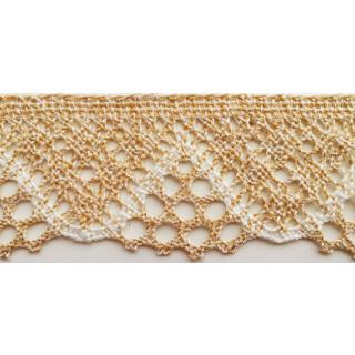 Häkelspitze, 5 cm breit, beige-meliert, 1 Meter
