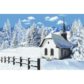 Zählmusterpackung Winter Kirche, ca. 45 x 30 cm