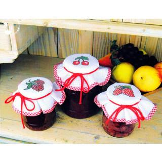 Zählmusterpackung 3 Stück Marmeladen-Deckchen, rot