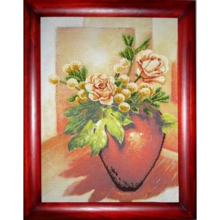 Kreuzstich-Effektbild Vase mit Rosen