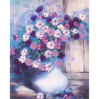 Bändchen-Stickerei Blumenvase, ca. 40 x 50 cm