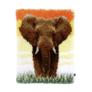Knüpfwandbehang Elefant in der Savanne II