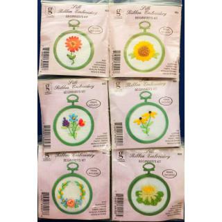 6er- Set Bändchen-Stickpackungen Blumen 3