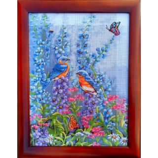 Stickpackung, Gobelin, Stickbild Birds in Spring, inkl. Rahmen
