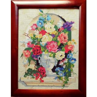 Stickpackung Gobelin Stickbild Flowerdreams inkl. Rahmen