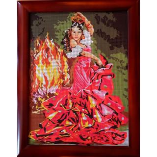 Stickpackung, Gobelin Stickbild Spanisches Feuer
