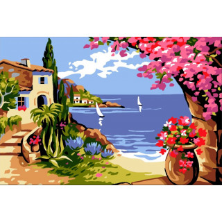 Sticktwist-Gobelin Korsika mit Rahmen