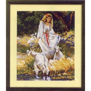 Gobelin Frau mit Schafen